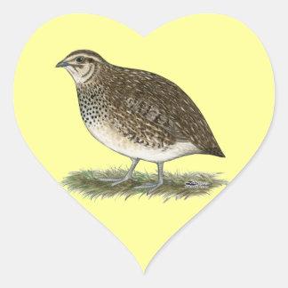 Coturnix Quail Hen Heart Sticker