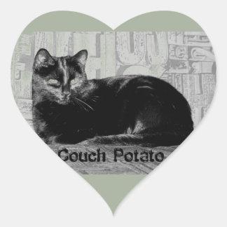 """""""Couch Potato"""" Black Cat Heart Sticker"""