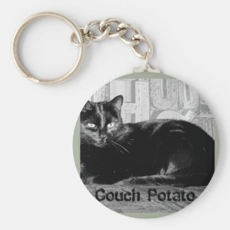 """Couch Potato"" Black Cat Keychain"