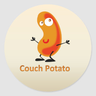 couch potato classic round sticker