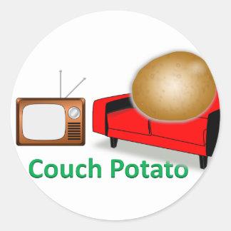 couch potato classic round sticker