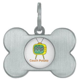 couch potato pet name tag