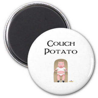 Couch Potato Pig Couch Potato 2 Inch Round Magnet