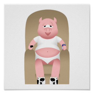 Couch Potato Pig Print
