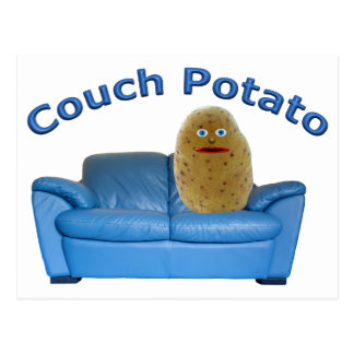 """""""Couch Potato"""" sitting on blue couch"""