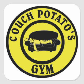 Couch Potato's Gym (In Gold) Square Sticker