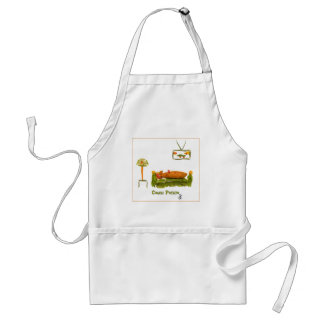Couch Potato with border Adult Apron