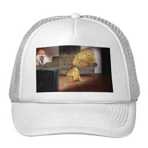 Couch Potatoes Watching the Late Show Mesh Hats