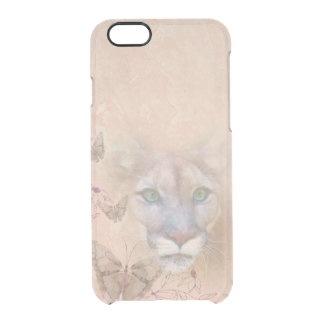 Cougar and Butterflies Clear iPhone 6/6S Case