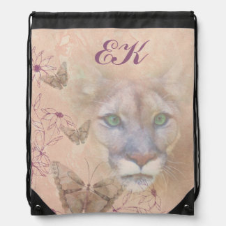 Cougar and Butterflies, Monogram Drawstring Bag