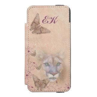 Cougar and Butterflies, Monogram Incipio Watson™ iPhone 5 Wallet Case