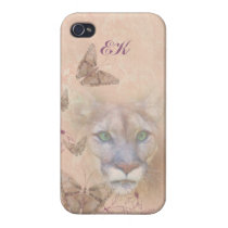 Cougar and Butterflies, Monogram iPhone 4/4S Case
