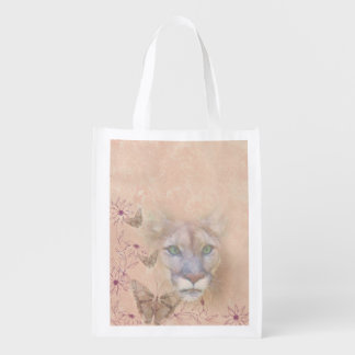 Cougar and Butterflies, Monogram Reusable Grocery Bag