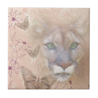 Cougar and Butterflies Tile