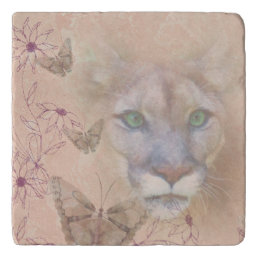 Cougar and Butterflies Trivet