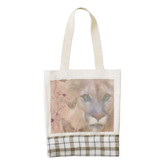 Cougar and Butterflies Zazzle HEART Tote Bag
