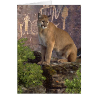 Cougar and Pictographs Greeting Cards