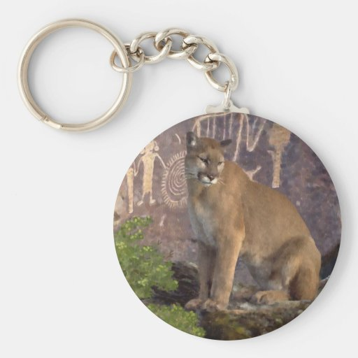 Cougar and Pictographs Key Chains