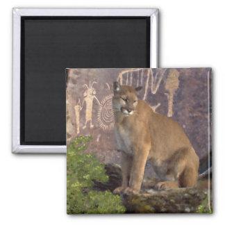 Cougar and Pictographs Fridge Magnet