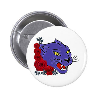 COUGAR AND ROSES TATTOO ART PRINT PINBACK BUTTON