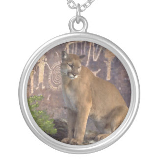 Cougar and the Pictographs Silver Plated Necklace