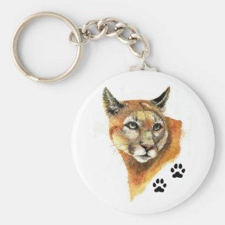Cougar Animal Basic Round Button Keychain