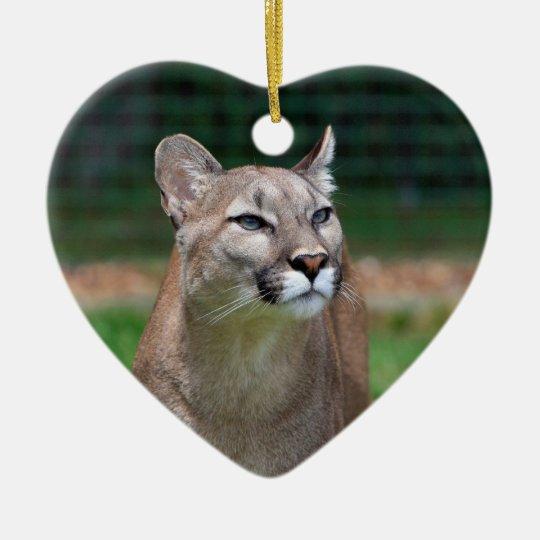 Cougar beautiful photo hanging heart ornament
