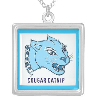 """""""COUGAR CATNIP"""" BLUE COUGAR PRINT SILVER PLATED NECKLACE"""