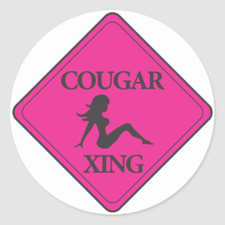 Cougar Crossing Pink Classic Round Sticker