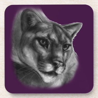 Cougar Drawing Beverage Coaster