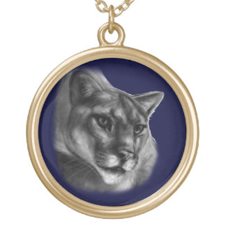 Cougar Drawing Gold Plated Necklace