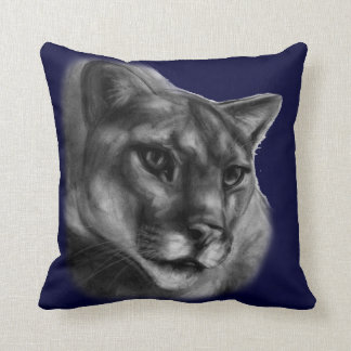 Cougar Drawing Throw Pillow