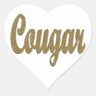 Cougar - Furry Text Heart Sticker