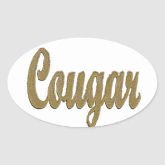 Cougar - Furry Text Oval Sticker