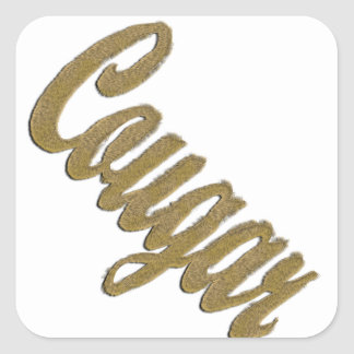Cougar - Furry Text Square Sticker