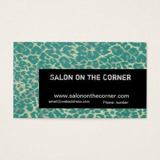 Cougar Green Leopard Fashionable Makeup Artist Business Card