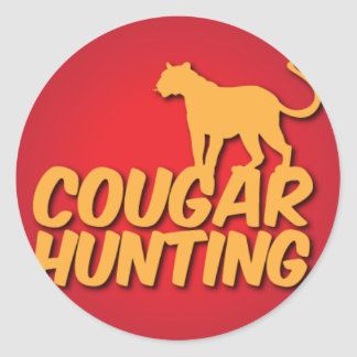 COUGAR Hunting with panther cat Classic Round Sticker