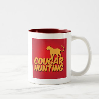 COUGAR Hunting with panther cat Two-Tone Coffee Mug