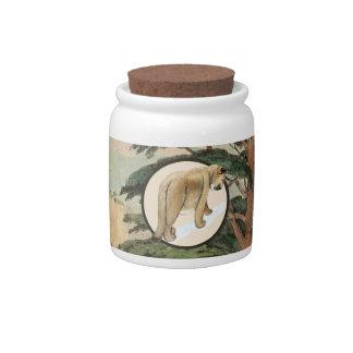 Cougar In Natural Habitat Illustration Candy Jar