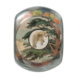 Cougar In Natural Habitat Illustration Glass Jars