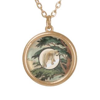 Cougar In Natural Habitat Illustration Gold Plated Necklace