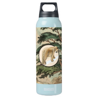 Cougar In Natural Habitat Illustration Insulated Water Bottle