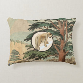 Cougar In Natural Habitat Illustration Accent Pillow