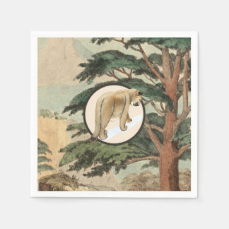 Cougar In Natural Habitat Illustration Napkin