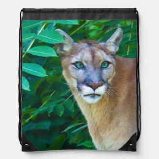 Cougar in the Jungle Drawstring Bag