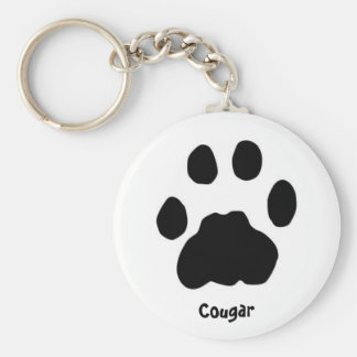 Cougar Basic Round Button Keychain