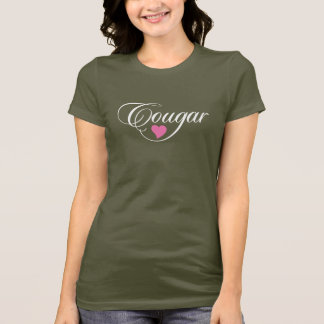 Cougar Love Ladies T-Shirt  White and Pink
