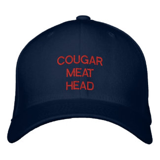 """""""COUGAR MEAT HEAD"""" embroidered on cap"""