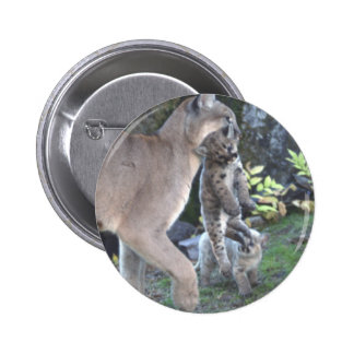 Cougar Mom and Cubs 2 Inch Round Button