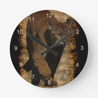 Cougar Mountain-Lion Art on a Wildlife Wall Clock